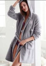 NWT New Victoria's Secret Super Soft Plush Fleece Pom Pom Hoodie Wrap Robe L