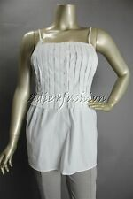 New with Tags PRADA White Cotton Poplin Stretchy Pleat Blouse Top 6 40
