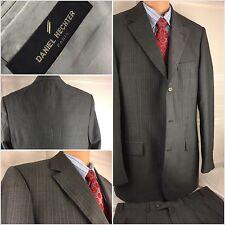 Daniel Hechter Suit 42L Gray Stripe 3btn Super 100s 36x31 Pleat 42 L YGI 85jj