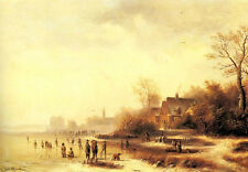 Handpainted Oil painting old town landscape Figures in a Frozen Winter & people