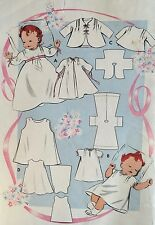 VINTAGE 1940-50's 'BUTTERICK' CLASSIC INFANTS  LAYETTE PATTERN 593 - SIZE ONE