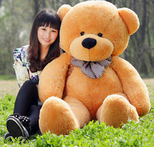 Hot GIANT CUTE LIGHT BROWN  PLUSH TEDDY BEAR HUGE SOFT 100% COTTON TOY 80CM AU