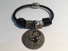 Pulsera Piel y Plata moneda romana - Leather & Silver Bracelet with Roman Coin