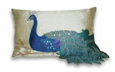 Thro by Marlo Lorenz Fancy Vivid Peacock Faux Silk Decorative Lumbar Pillow