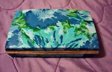 Vintage Mele Jewelry Box Hard Shell Earring Case Blue Floral storage