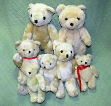 """Lot of 7 Jointed Teddy Bears 7"""" - 16"""" Tan Beige Stuffed Animals Crafting Dolls"""
