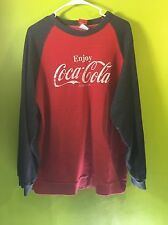 VINTAGE COCA-COLA LONG SLEEVE WASHED RED SWEAT SHIRT MENS XL