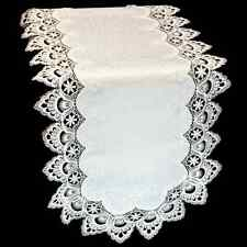 """Embroidered Lace on White Embossed Table Runner 16"""" x 45"""""""