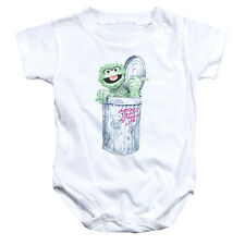 SESAME STREET Oscar The Grouch Life Infant Snapsuit Baby Onesie Romper 6 - 24M