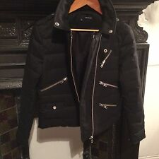 The Kooples black padded down & leather short jacket coat RRP £425 XL 10 12 14