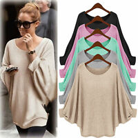 Womens Plus Size Long Bat Sleeve Pullover Batwing Loose Baggy Loose Top Jumper