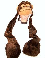 MONKEY PLUSH HAT WITH ARMS AND PAWS ape winter novelty fun adult kids headwear