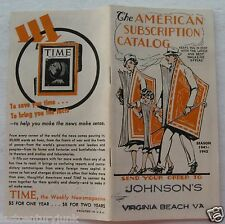 Catalog For The American Subscription Catalog ( Magazine's) 1940's