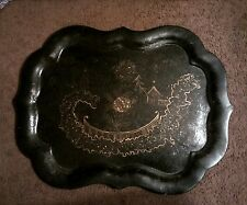 """Antique Paper Mache' Mother Of Pearl Insert Tole Tray Oriental Theme ~31""""x24"""""""