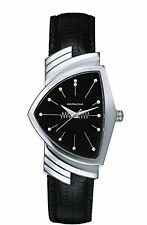 Hamilton Ventura Black Dial S. Steel Leather Quartz Men's Watch H24211732