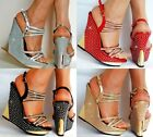 Womens New Platform Wedge High Heels Party Wedding Diamante Strappy Sandals Size