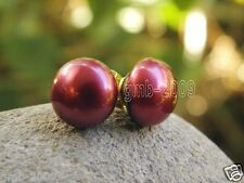 Genuine Natural Huge Dark Red 11-12mm Freshwater Pearl 14K GP Stud Earrings