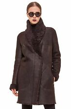 $3,290 AUTH NWT Akris punto Dk Brown Genuine Shearling Reversable Coat Sz US6
