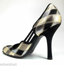 VALENTINO GARAVANI METALLIC GOLD/SILVER/BRONZE/BLACK LEATHER & SUEDE SHOES, 38/8