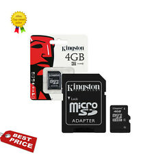 GENUINE CLASS (4) 4GB KINGSTON MICRO SDHC MEMORY CARD WITH SD ADAPTER HC MICROSD
