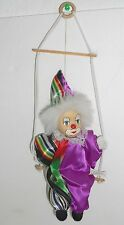 Shalom Toyco Clown String Puppet On Swing Bisque Head Circus Vintage Rainbow