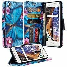 For LG X Power Cell Phone Case Flip Cover Hybrid PU Leather Wallet Pouch