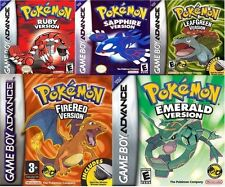 Pokemon Gameboy Games Bundle Leaf Green, Fired Red, Emerald, Sapphire And Ruby