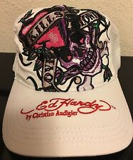 Ed Hardy Women's Trucker Hat Cap Love Kills White Pink Skull New