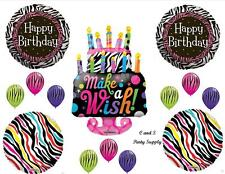 ZEBRA MAKE WISH CAKE HAPPY BIRTHDAY PARTY BALLOONS Decorations Supplies Sweet 16