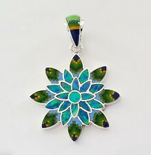 FLORAL MULTICOLOR CORAL LAPIZ OPAL TURQUOISE INLAY .925 STERLING SILVER PENDANT