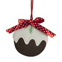 Gisela Graham Christmas Decoration - Wooden Christmas Pudding - Tree Decoration