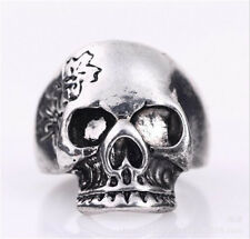 men's Stainless Steel Hell flower skull motor Biker Gothic  Ring Size-11