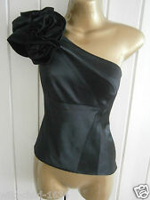 KAREN MILLEN S 8 BNWT £99 BLACK SILK ONE SHOULDER RUFFLE BLOUSE SHIRT TOP 4 36