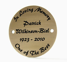 Deeply engraved solid brass metal circular plaque nameplate, 50mm. Free delivery