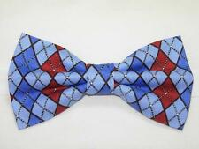 (1) PRE-TIED BOW TIE - RED, LIGHT BLUE & ROYAL BLUE ARGYLE