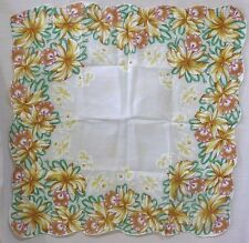 Vintage Woman's Hankie Wide Border of Brwn & Wht Cattleya Orchids Lge Hankie