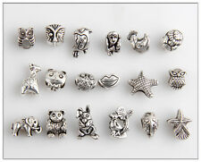 36pcs Mixed Animal Antique Silver Bead Fit European Charm Bracelet Findings