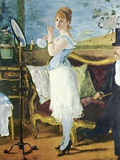 Wonderful Oil painting Edouard Manet - Nana young woman portrait in her toilet