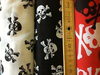Poplin Polycotton Fabric Dress Black White Skulls Pirate Gothic 112 cm