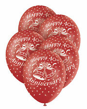 "5 Red RUBY 40th Wedding Anniversary 12"" Superprint Premium Pearlised Balloons"