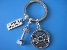 Weight Lifting Keyring Dumbbell Weight Plate Strength Training Crossfit Gift
