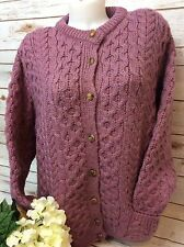 CLADYKNIT IRISH CARDIGAN PINK WOOL KNIT IRELAND FISHERMANS SWEATER ~ Size Large!