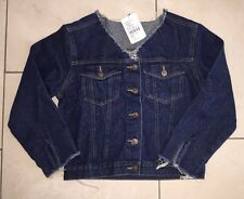 Urban Outfitters Renewal Vintage Customised Raw-Cut V-Neck Denim Jacket - S/M