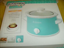ELECTRIC 1.5 QT Slow Cooker TURQUOISE BLUE Removable stoneware insert  New