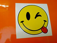 CHEEKY SMILEY EMOJI Car Bumper Van Motorcycle Camper Sticker Decal 1 off 100mm