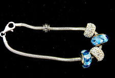 4 Trollbeads Stamped 925 With Stopper and Sterling Silver Bracelet 7 Inches