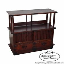 Chinese Arts & Crafts Red Elm Wood Narrow Console Cabinet Etagere