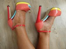 PINK BLUE YELLOW RED PATENT PLATFORM HEEL 7 / 7.5 ANKLE-STRAP PEEP-TOE shoe NEW