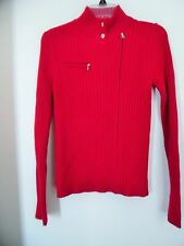 VICTORIAS SECRET MODA INTERNATIONAL RED SWEATER FULL ZIP SIZE MEDIUM