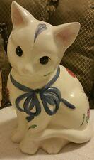 Cat cookie jar Poppies on blue lenox